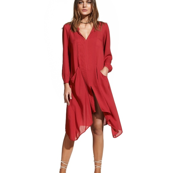 90e87303d9f8a VIX FLORA RED CAFTAN COVER UP TUNIC DRESS M